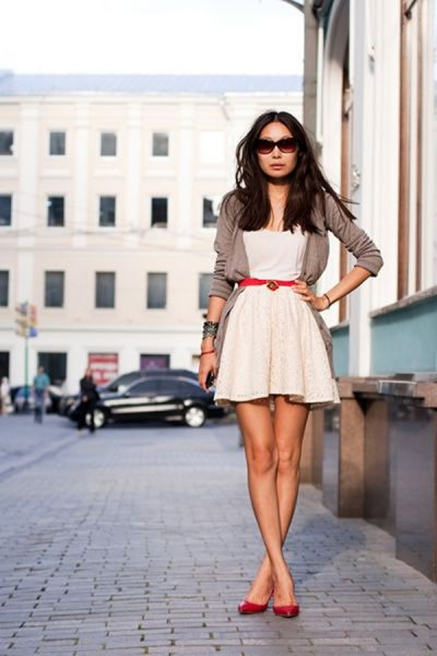 gray cardigan white fit and flared lace dress