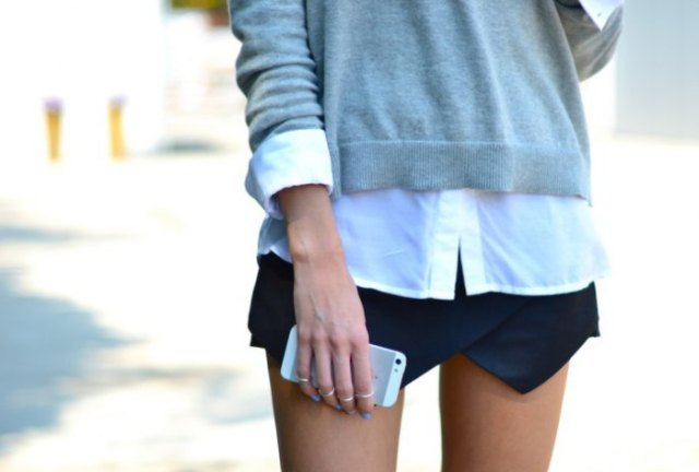 gray cardigan white shirt black skort
