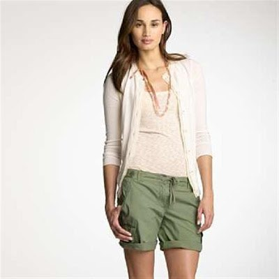 gray cardigan with green khaki shorts with cargo cuff