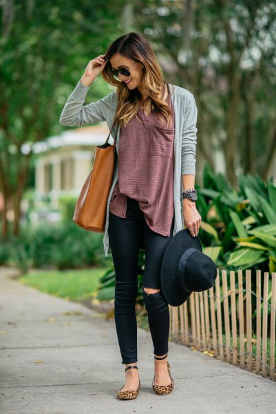 gray cardigan with tunic top and ankle strap flats with leopard print