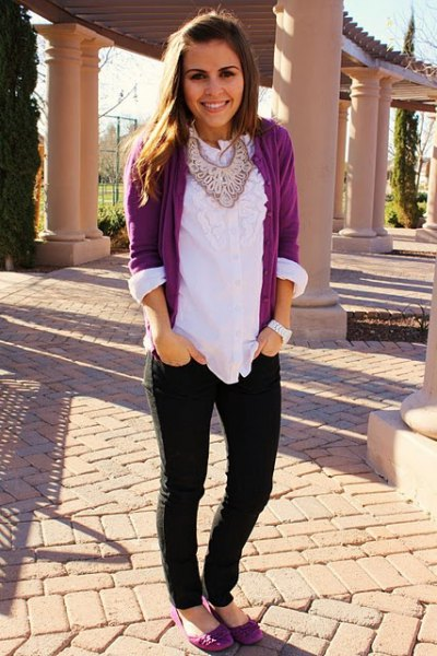 gray cardigan with white blouse with frilled neckline