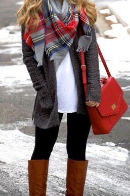 gray cardigan with white tunic top and brown knee-high boots