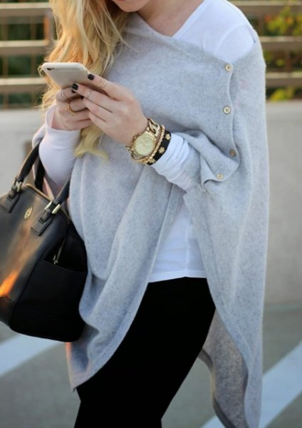 gray cashmere wrap with buttons