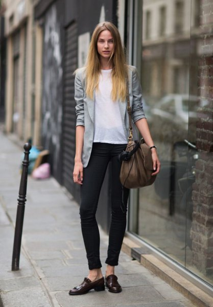 gray casual blazer with white chiffon top and ankle jeans