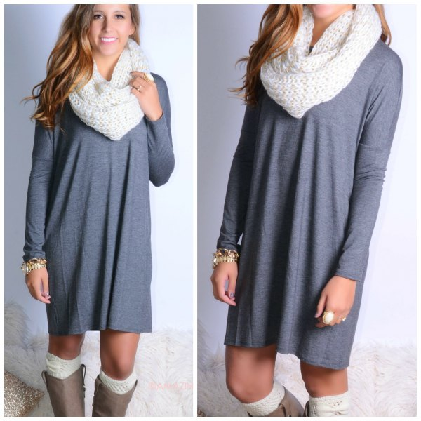gray casual long sleeve dress with white scarf