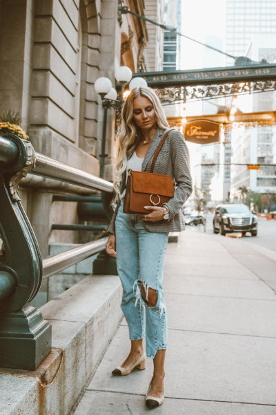 gray checked blazer with white vest top and blue ribbed boyfriend jeans