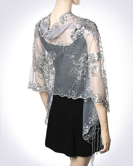 gray, semi-transparent, embroidered scarf made of chiffon with a mini dress made of black sheath