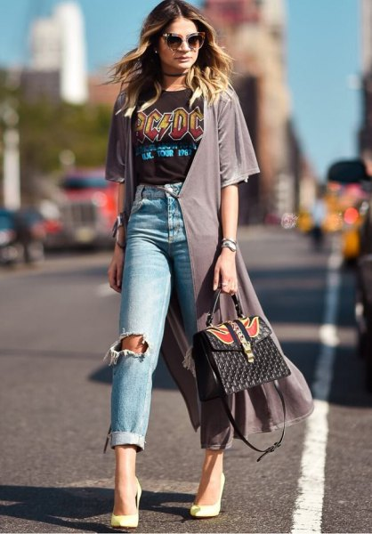 gray chiffon shrug of ripped boyfriend jeans