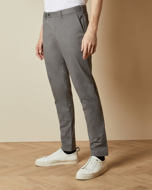 Super slim fit chinos - Grey | Trousers | Ted Baker R
