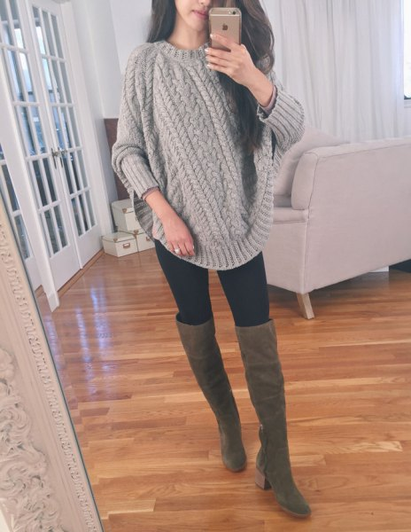 gray, chunky knitted sweater with knitted sweater