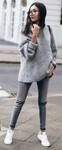gray, chunky fuzzy sweater with white sneakers