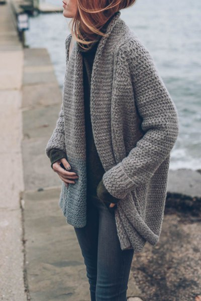 gray knitted sweater cardigan