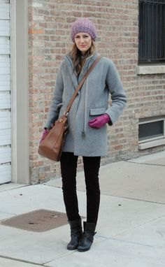 gray coat with black skinny jeans and leather boots