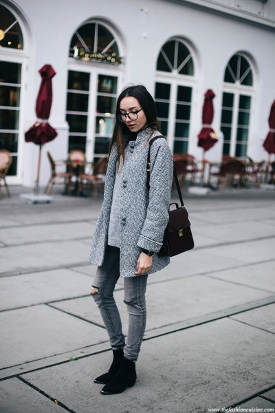 gray cocoon coat with matching ripped skinny jeans and suede boots