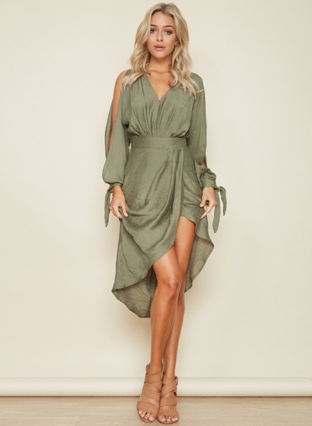 gray cold shoulder with V-neckline and flared midi high-low dress