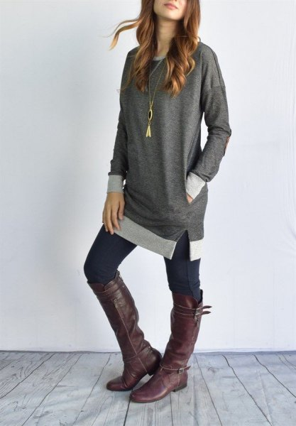 gray block tunic top with dark skinny jeans and knee-high leather boots