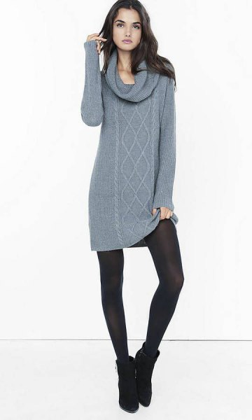 gray cable knit sweater dress with waterfall neckline