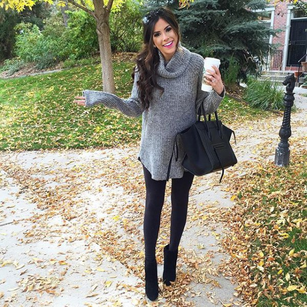 gray long ribbed sweater with cowl neckline, leggings and black short boots