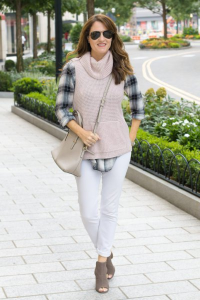 gray sleeveless pullover checked boyfriend shirt with cowl neckline