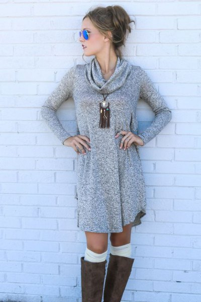 gray sweater dress with a cowl neckline