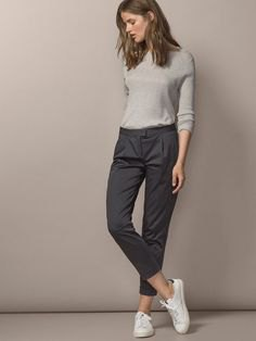 gray cut chinos knit sweater outfit