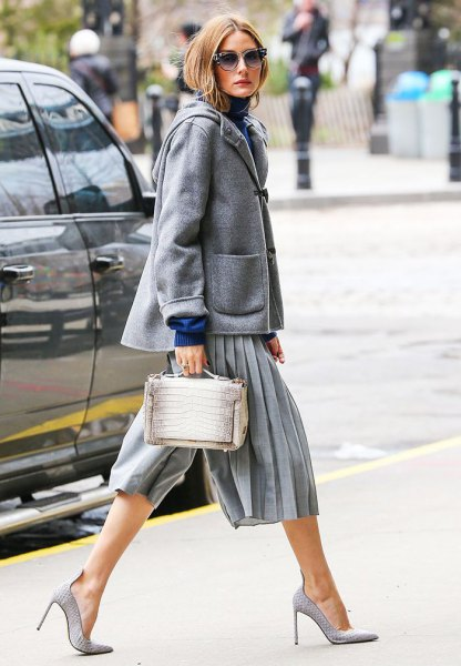 gray culottes with woolen coat