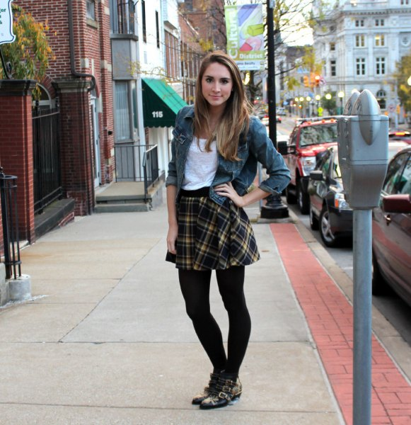 gray denim jacket with black checked skirt and leggings