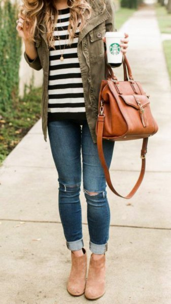 gray denim jacket with striped t-shirt and suede camel ankle boots