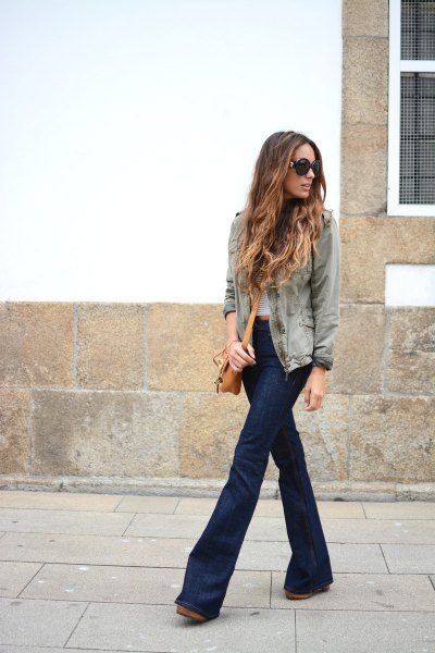 gray denim jacket with striped T-shirt and dark blue, flat flare jeans