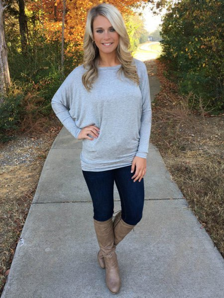 gray dolman sleeved sweater with boat neckline