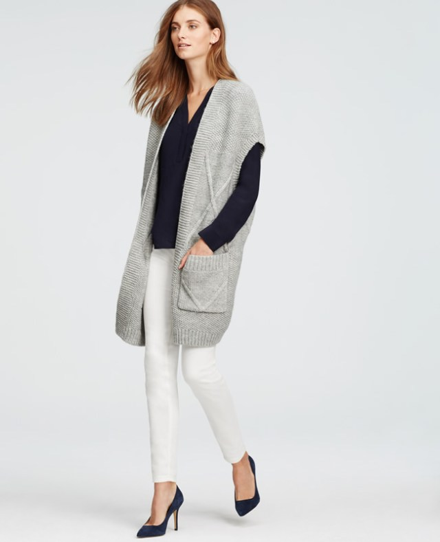 long sleeveless cardigan with gray shoulder