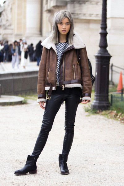 gray leather jacket with faux fur collar and short leather boots