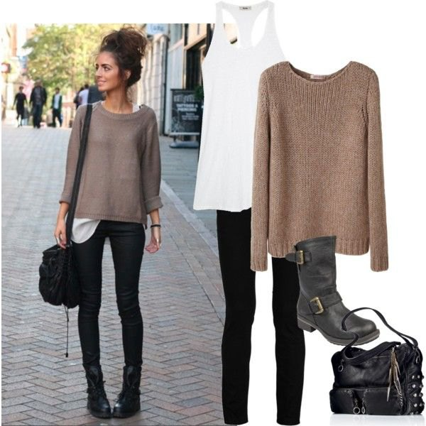 gray, tailored knitted sweater with black skinny jeans and biker ankle boots