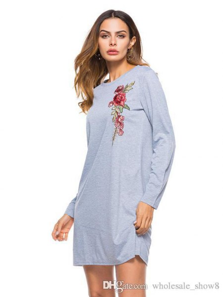 gray floral graphic long sleeve t shirt dress