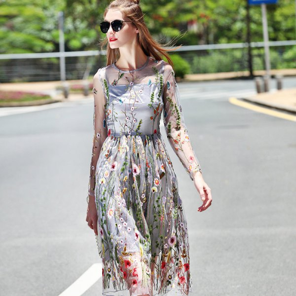 gray, long, see-through midi dress with floral pattern and flared midi dress