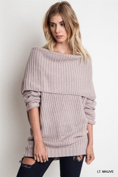 gray sweater ribbed over the shoulder