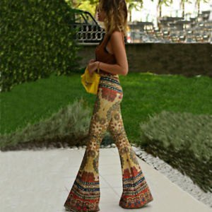 gray, figure-hugging tank top with crepe-tribal-printed bell pants