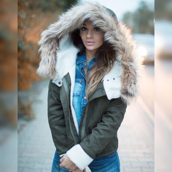 gray hooded fur jacket with blue chambray shirt with buttons