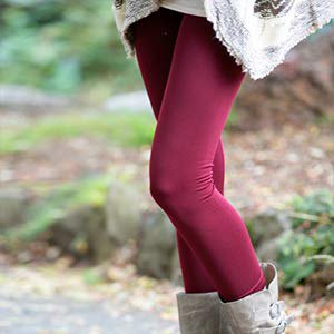 gray fuzzy tunic sweater with burgundy-red, fleece-lined leggings