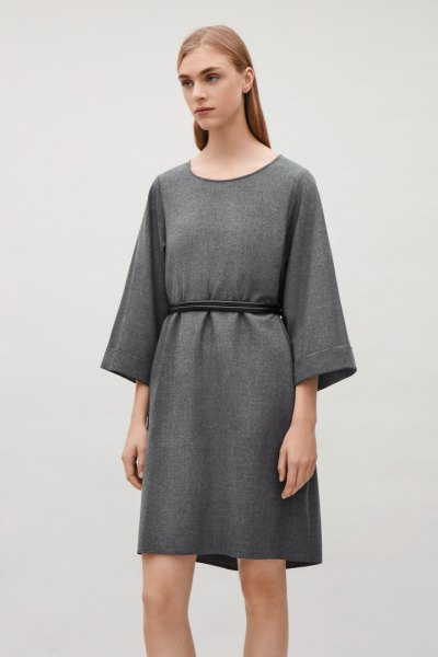 gray wool mini dress from ruched waist