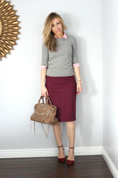 gray sweater with half sleeves, white shirt with buttons and burgundy pencil skirt