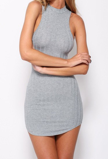 gray halter tube dress with a slim fit