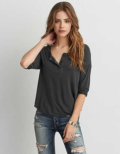 gray henley shirt ripped skinny jeans