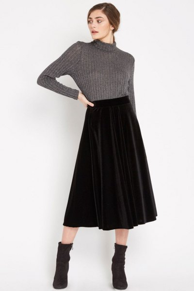 gray high neck knitted pullover midi velvet skirt