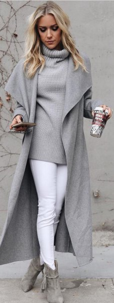 gray high neck knitted sweater wool coat