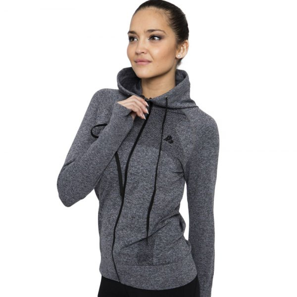 gray sports coat with hood and black jeans