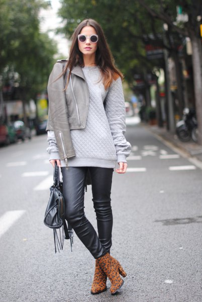 gray jacket chunky sweater black leather gaiters