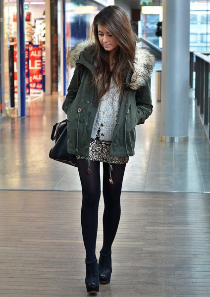 gray jacket white cardigan silver sequin mini skirt