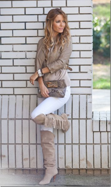 gray knee high fringed boots leather jacket