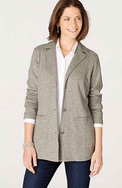 gray knitted blazer jacket with white shirt with buttons